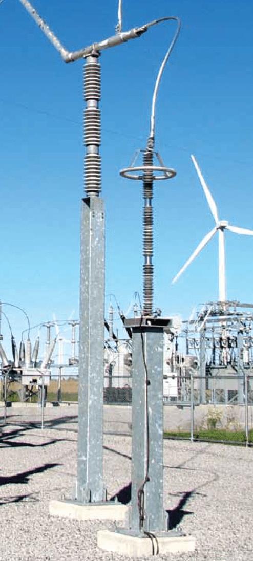 144 kV Uc arrester on pedestal at wind farm collector substation. arrester lead design Arrester Lead Design & Application Screen Shot 2016 07 08 at 14