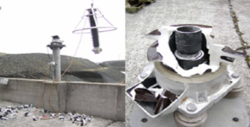 Catastrophic failure of porcelain-housed MOSA.   Assessing Condition of Substation Surge Arresters Screen Shot 2016 07 08 at 16