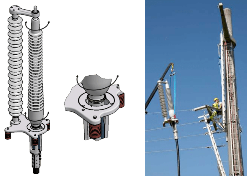 Fig. 2: 360° rotating support design and lifting of 170 kV dry type outdoor termination. cable accessories Adapting Cable Accessories for Onshore & Offshore Substations Screen Shot 2016 07 15 at 13