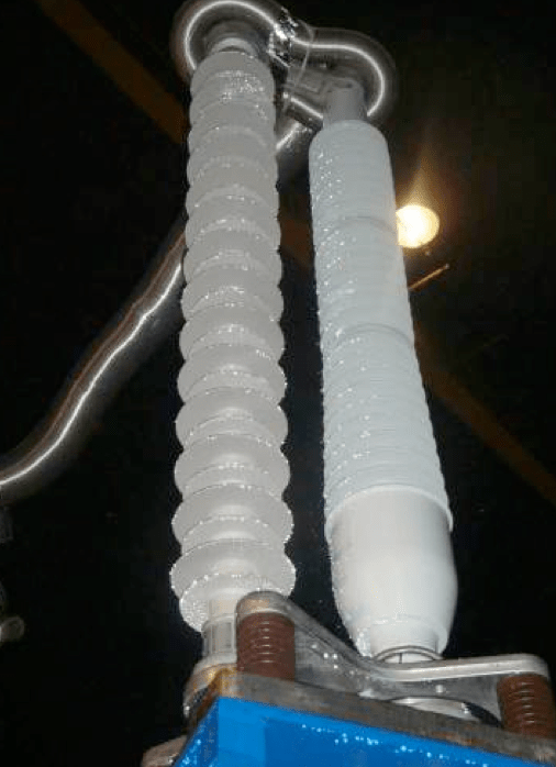 Fig. 7: HV cable termination type during wet power frequency withstand voltage test. cable accessories Adapting Cable Accessories for Onshore & Offshore Substations Screen Shot 2016 07 15 at 14