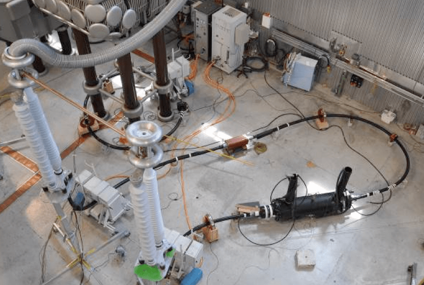 Fig. 11: Set-up for electrical test of dry type back-to-back joint cable accessories Adapting Cable Accessories for Onshore & Offshore Substations Screen Shot 2016 07 15 at 14