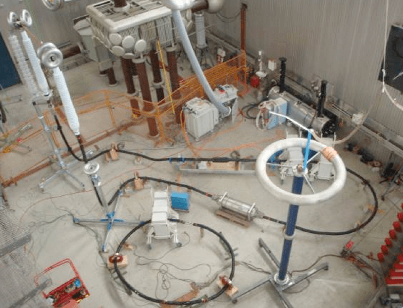 Fig. 15: Type test set-up for Um=170 kV and 800 mm2 copper conductor according to IEC 60840. cable accessories Adapting Cable Accessories for Onshore & Offshore Substations Screen Shot 2016 07 15 at 14