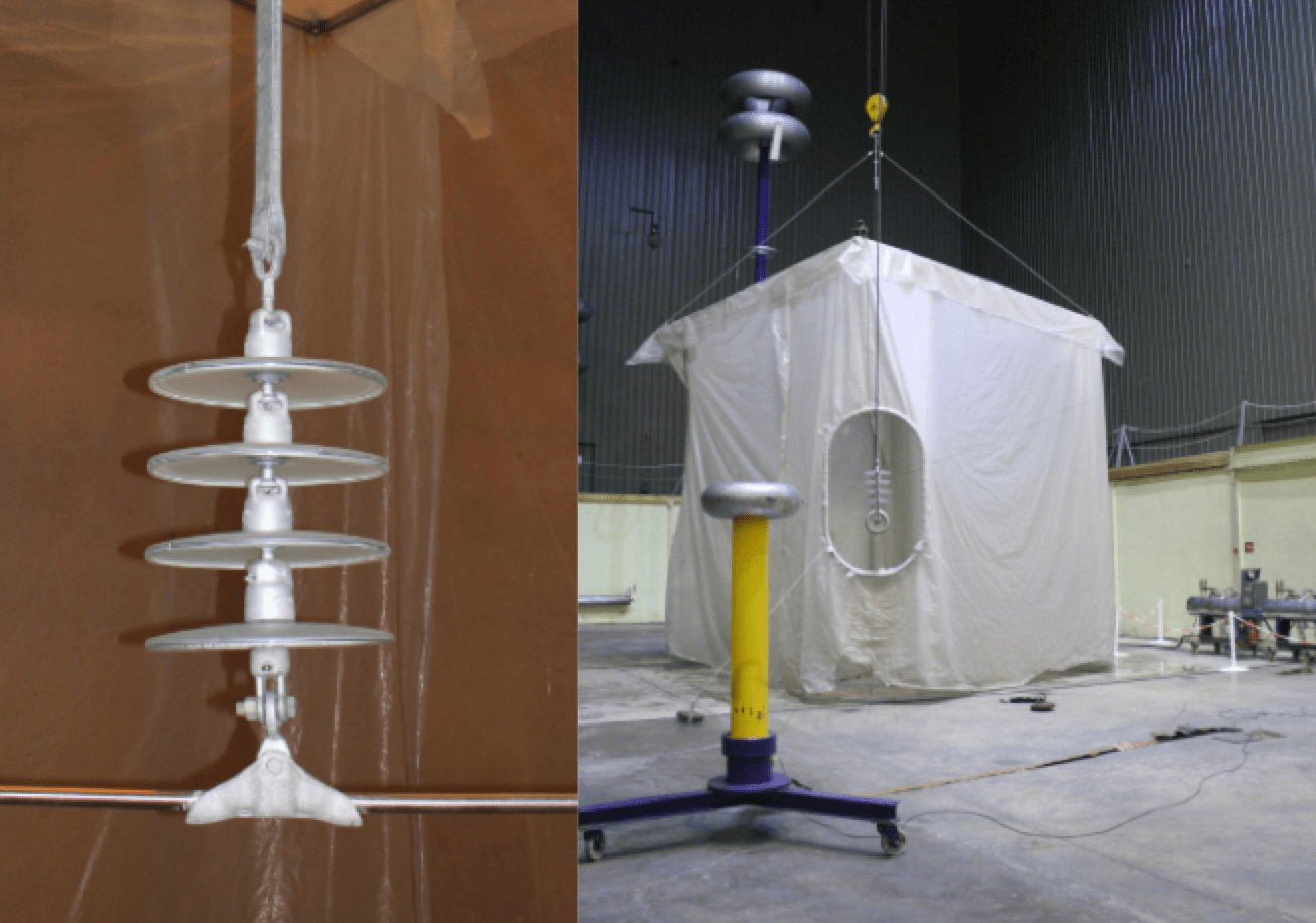 Fig. 9: Right: View of tested string, Left: View of test arrangement. toughened glass insulators Silicone Coatings on Toughened Glass Insulators Screen Shot 2016 07 28 at 14