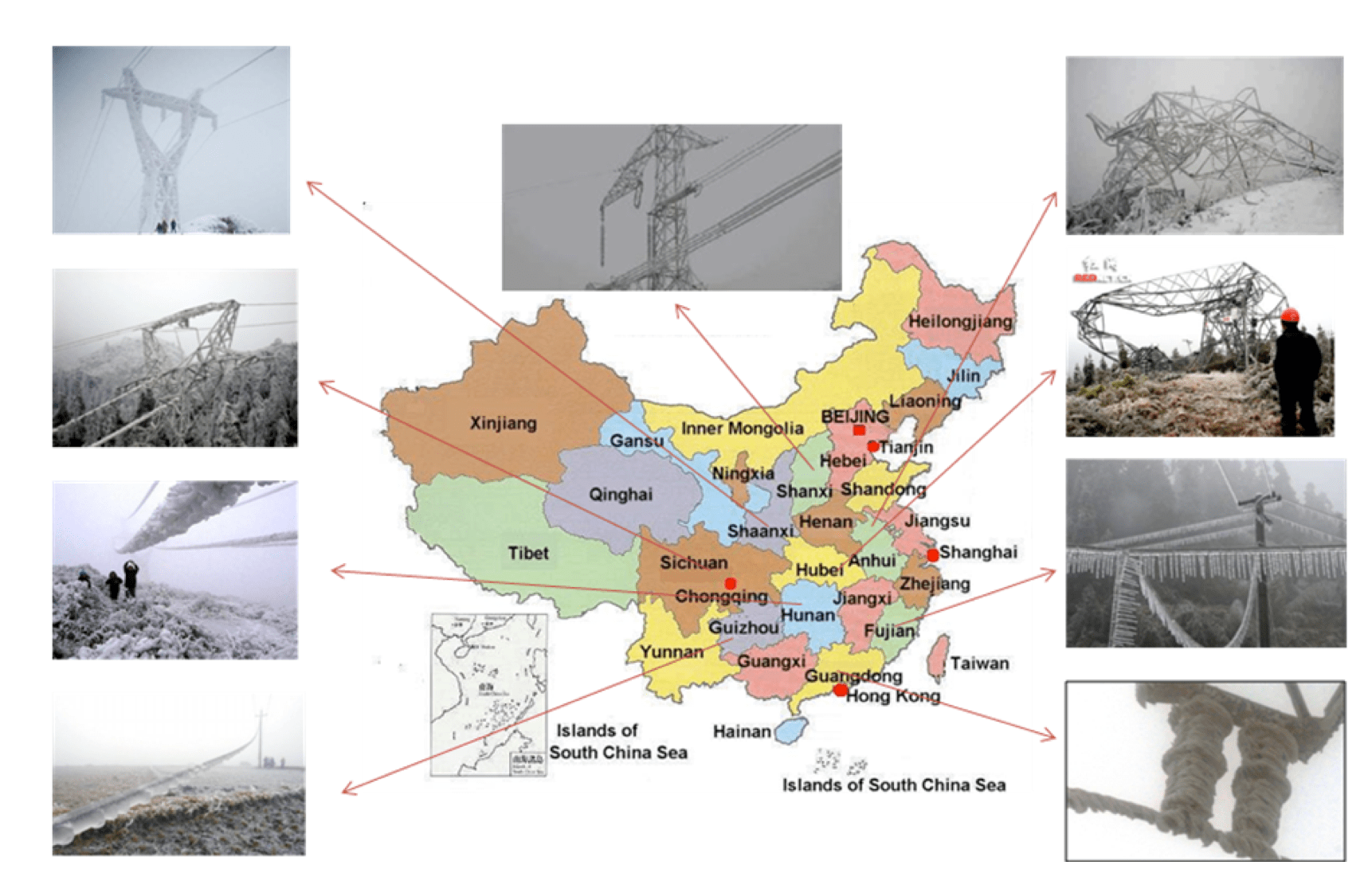 Fig. 1: Icing problems on transmission lines in China, 2008/9 ice accretion Semi-Conductive Coatings to Limit Ice Accretion on Insulators Screen Shot 2016 09 30 at 11
