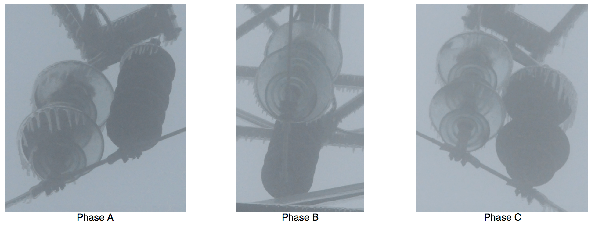 Fig. 11: Appearance of icing on insulator strings in operation of 35 kV applied (35 kV Lianhe Line in Guangdong). ice accretion Semi-Conductive Coatings to Limit Ice Accretion on Insulators Screen Shot 2016 09 30 at 12