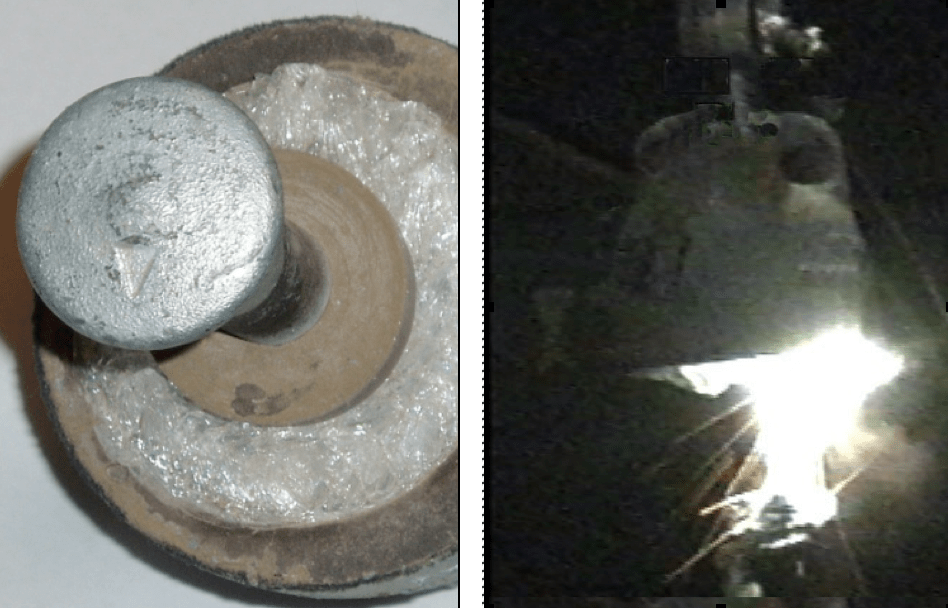 Fig. 4: Stub with entire external glass shell missing (right); flashover of stub at 10-15 kV, demonstrating that current cannot flow inside stub (right). failure modes Overview of Failure Modes of Porcelain, Toughened Glass & Composite Insulators Stub with entire external glass shell