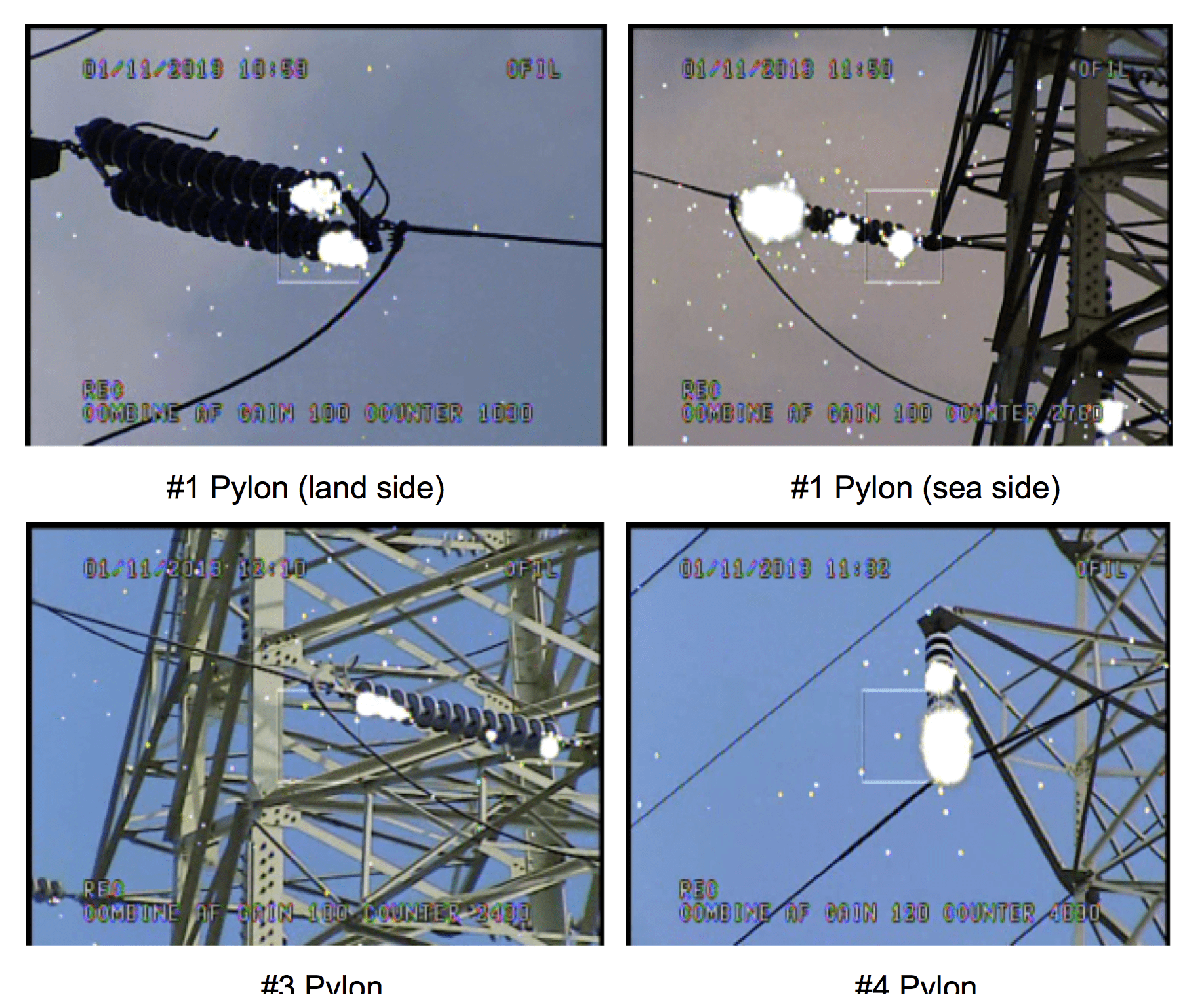 Examples of corona observed during daytime. korea Assessing Condition of Line Insulators in Korea Screen Shot 2016 11 18 at 14