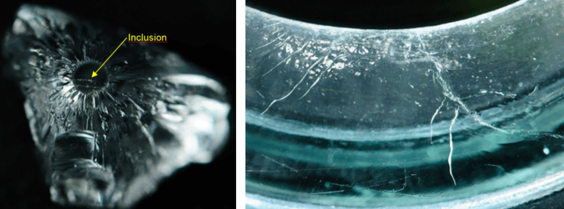 glass insulator Expanded Test Criteria to Ensure Glass Insulator Quality Glass fragment contains inclusion that