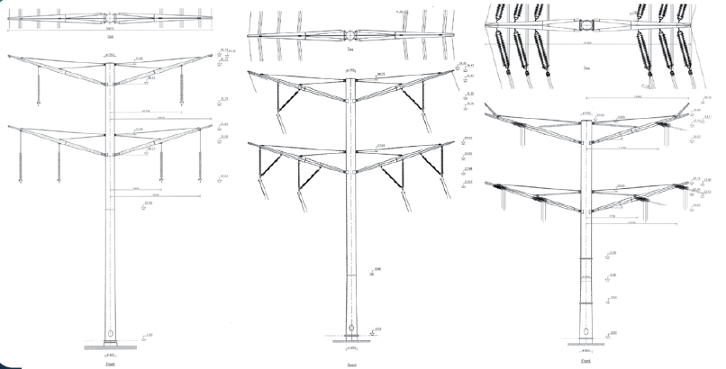 Three major towers types along Kassø-Tejle line: suspension, flying angle and tension. CLICK TO ENLARGE line Aesthetic Design Helped Danish TSO Obtain Approval for New 400 kV Line Screen Shot 2017 09 11 at 12