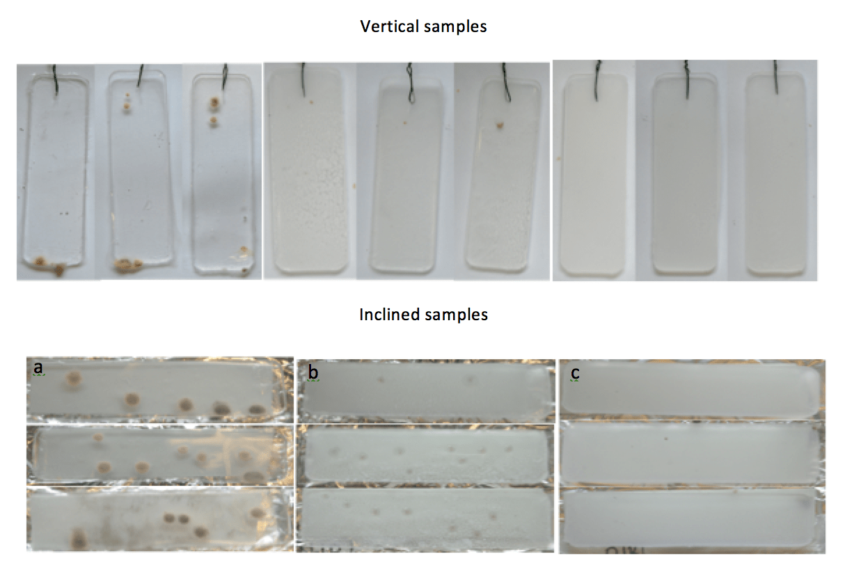 Effect of spray-deposited nanoparticles on micro-organism formation after 28 days incubation. (left) Reference silicone (center); Silicone sprayed with ZnO; (right) Silicone sprayed with modified ZnO (by permission of E. Strömberg). Materials Toward Development of Insulators of the Future materials Materials Toward Development of Insulators of the Future Screen Shot 2018 01 05 at 16