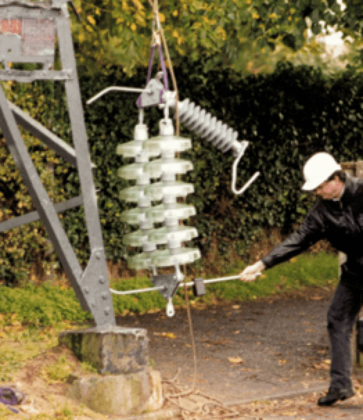 line arrester Line Arresters Mitigate Ground Potential Rise on Towers & Improve Electricity Quality Insulator assembly equipped with EGLA ready to be hoisted