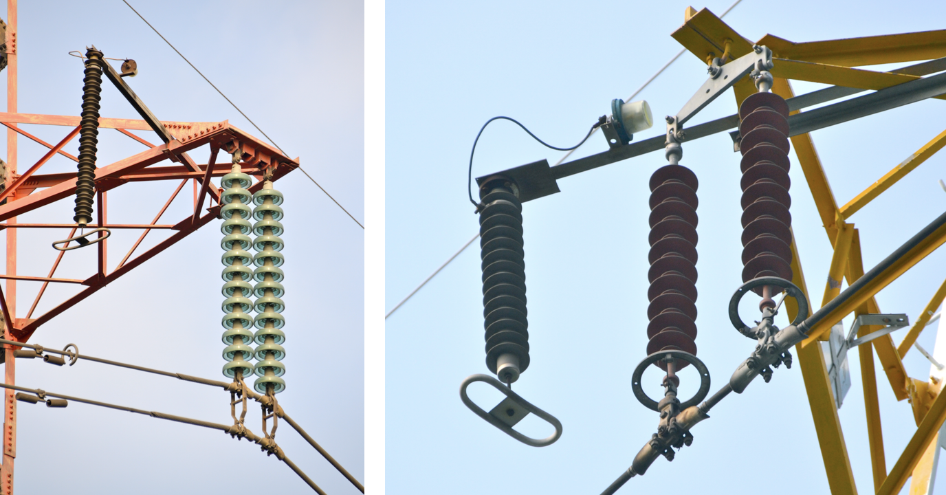 line arrester Utility Reduced Lightning Outages with Line Arrester Investment Program Typical EGLA arrangements on transmission tower