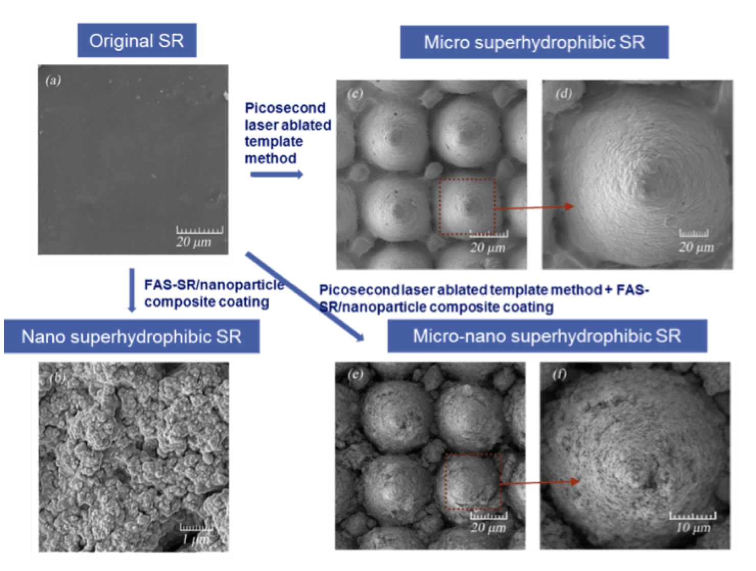 Fig. 11: Scanning electron microscope (SEM) of original & super-hydrophobic HTV silicone rubber specimens. (a) original HTV silicone rubber surface, top left; (b) nano-structure HTV silicone rubber surface, bottom left; (c, d) micro-structure HTV silicone rubber surface, top right; (e, f) micro-nano-structure HTV silicone rubber surface, bottom right. composite insulator Key Issues for Future of Composite Insulators: View from China Screen Shot 2018 09 28 at 15