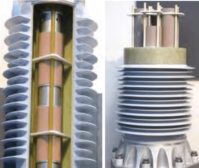 Construction of single and multi-stack composite tube type arresters. HV Arrester Development of Station Class/HV Arrester Technology Screen Shot 2018 09 28 at 18
