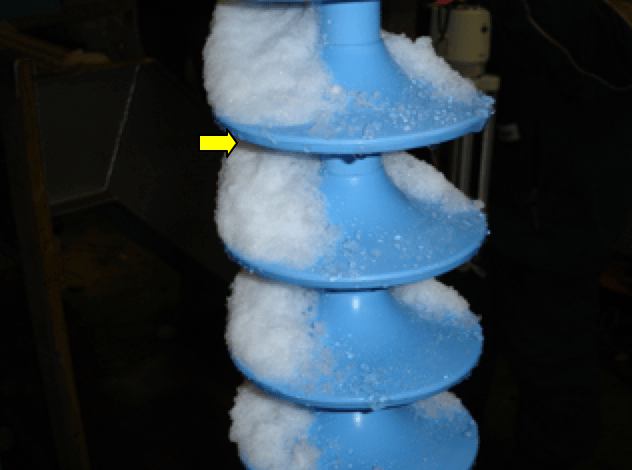 Fig. 13: Hydrophobic surface of polymeric insulator (after test). Insulator String Widespread Blackout Triggered  Study of Contaminated Snow on Insulator Strings Screen Shot 2018 10 14 at 14