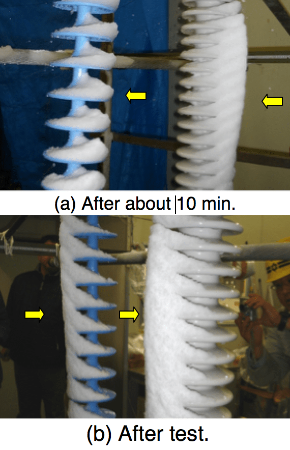 Fig. 12: Comparison of snow between polymeric and long rod insulator Insulator String Widespread Blackout Triggered  Study of Contaminated Snow on Insulator Strings Screen Shot 2018 10 14 at 14