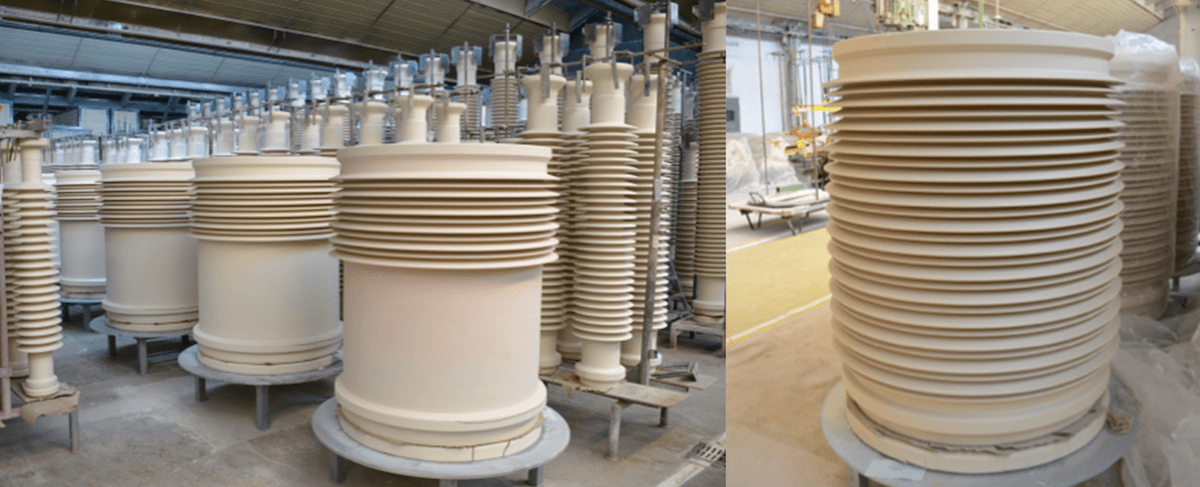 Parts for GIS bushings for application at 1100 kV, made on new extruder, that will reach 11.5 m length. Shed tip-to-tip diameter will be 1.2 m after shrinkage during firing. CLICK TO ENLARGE porcelain insulator Porcelain Insulator Plant Invests in Expanded Production Capabilities bushings