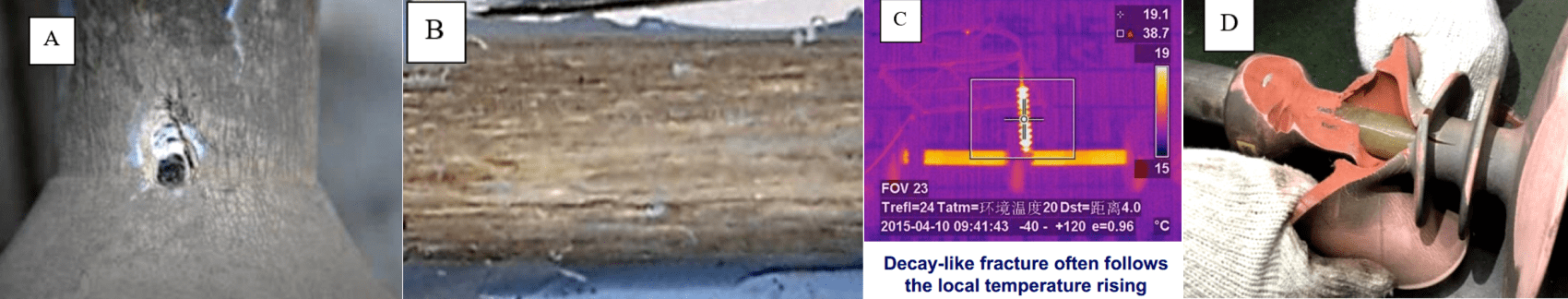 Fig. 3: Illustration of Chinese data on 'decay-like fractures'. A. Punctures in housing covering the internal 'decay-like fractures'; B. Appearance of fiberglass rod; C. Detection of internal failure by IR; D. Poor adhesion believed to be root cause of damage. CLICK TO ENLARGE composite insulator Testing Adhesion Between Fiberglass Rod & Housing in Composite Insulators inmr 1