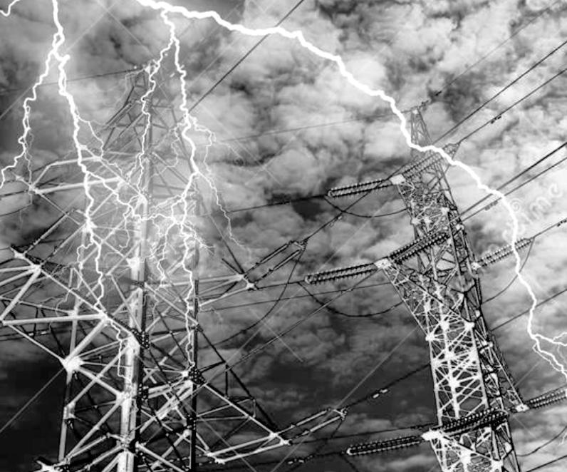 Lightning strikes transmission towers