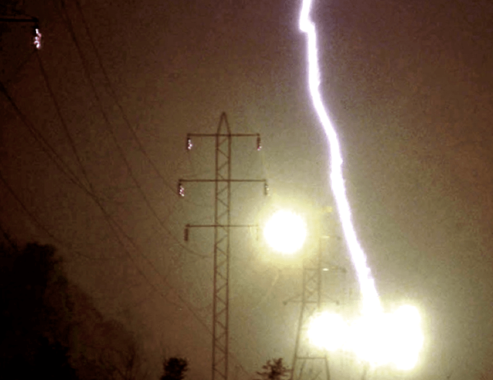 Lightning strikes transmission tower lightning Lightning & Power Systems Lightning Power Systems 5