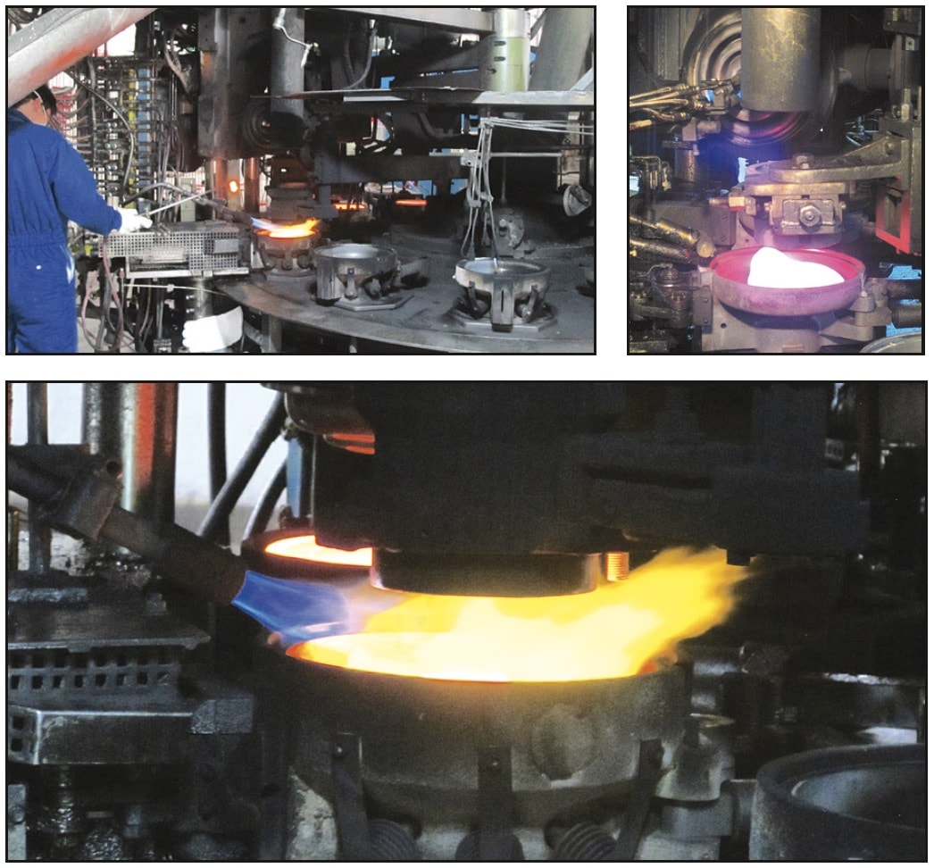 Gob delivered to pre-heated mold before pressing. Spinning, after removal from mold, allows internal screw-shape to form inside glass shell and then a glass insulator. Glass Insulator Manufacturing Glass Insulators Gob delivered to pre heated mold before pressing