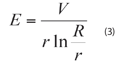 Corona & RIV Testing of Transmission Assemblies Hence equation 3 is developed based on the assumption that the concentric cylinders having infinite length could be applied to this finite length of concentric cylinder geometry