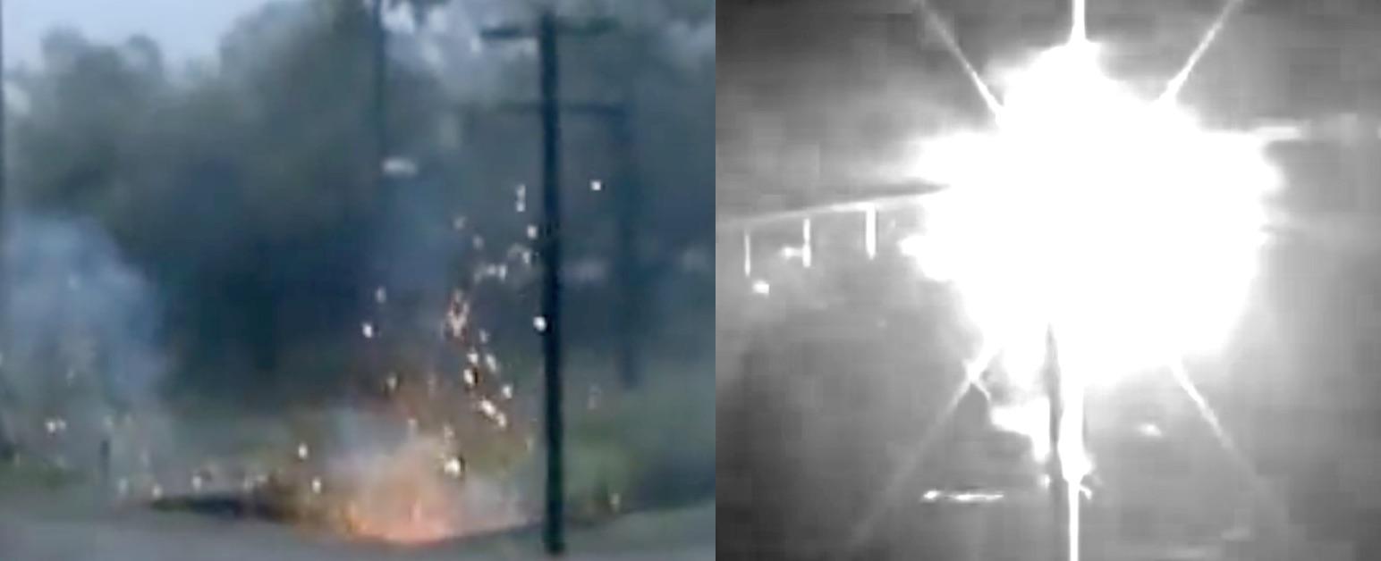 Lightning strikes distribution poles