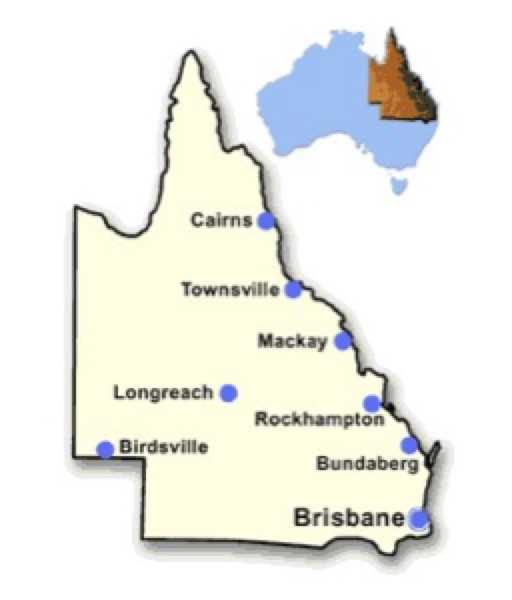 Benefit from Lessons Learned from Service Experience with Composite Insulators on Transmission Lines in Australia at the 2019 INMR WORLD CONGRESS Figure 1  E2 80 93 Map of Queensland with map of Australia inset