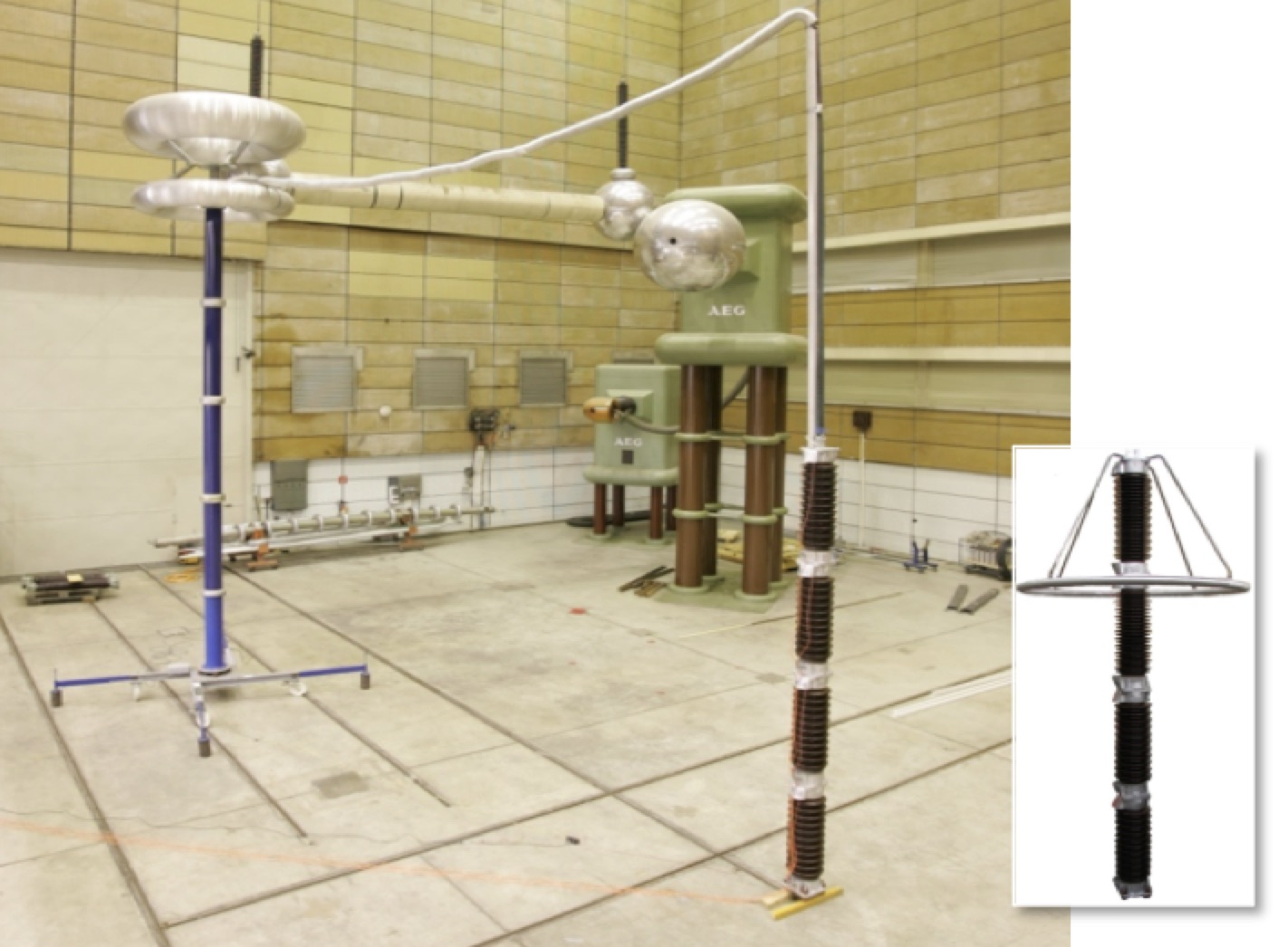 Arrester Technology: Lessons Learned, Developments to Watch Test set up of thermal stability investigations in high voltage test hall here arrester without grading ring