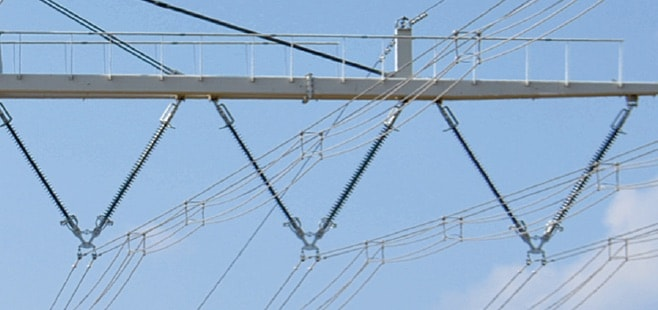 overhead line Implementing a Compact 400 kV Line Conductor bundle on new line design hangs from two steel wire rope supports