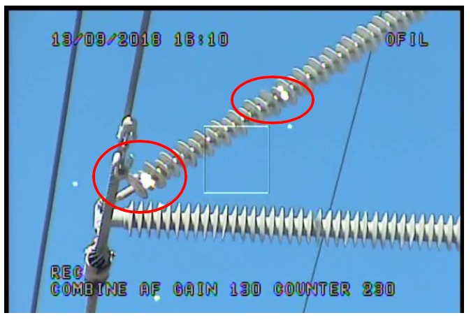 Corona detected on 45-degree bracing insulator  infrared inspection Infrared & UV Inspection of Overhead Transmission Lines: Experience in Florida, USA Corona detected on 45 degree