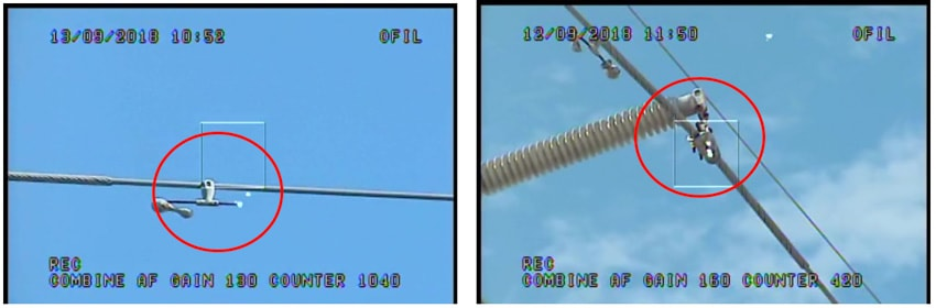 Fig. 8: Corona detected on pointed ends of anti-vibration weight support and bolt ends on conductor shoe. infrared inspection Infrared & UV Inspection of Overhead Transmission Lines: Experience in Florida, USA Corona detected on pointed ends of anti vibration weight support