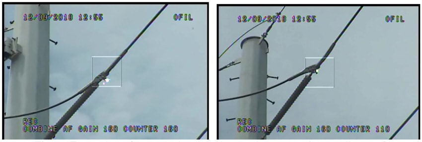 Fig. 9: Examples of corona detected on cotter pin connections at live end. infrared inspection Infrared & UV Inspection of Overhead Transmission Lines: Experience in Florida, USA Examples of corona detected on cotter pin connections at live end