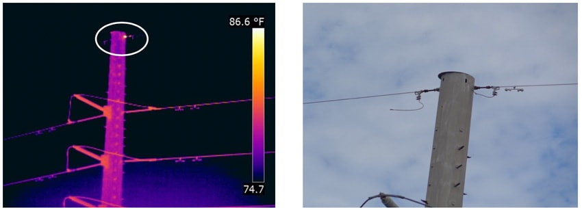 Fig. 12: Hot spot detected on static line connected via dead-end to metal pole.  infrared inspection Infrared & UV Inspection of Overhead Transmission Lines: Experience in Florida, USA Hot spot detected on static line connected via dead end to metal pole