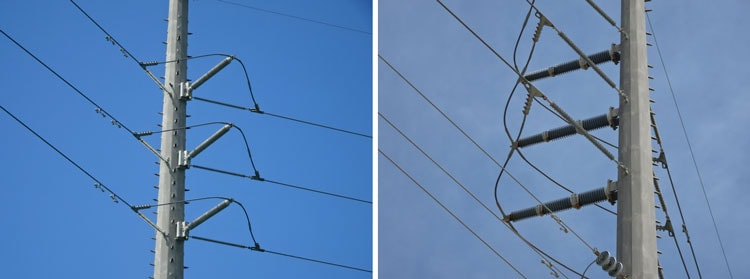 Typical pole construction of 138 kV system with no corona rings. infrared inspection Infrared & UV Inspection of Overhead Transmission Lines: Experience in Florida, USA Typical pole construction of 138 kV system