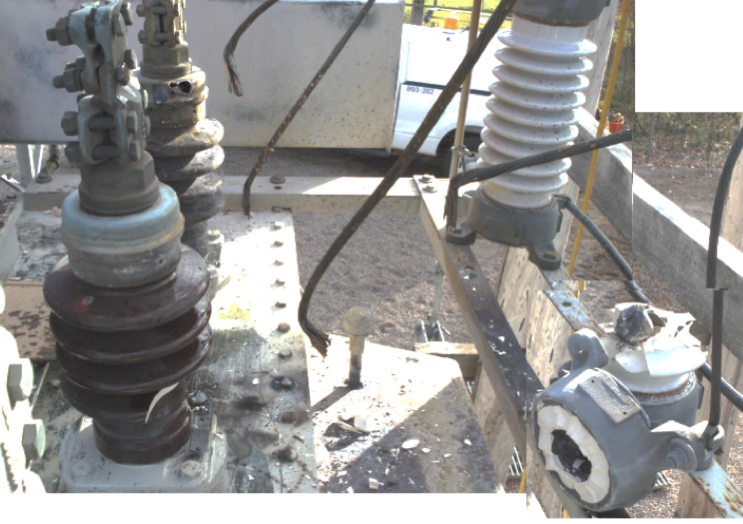Applying Surge Protection: Experience at Hydro One in Canada Blown porcelain arrester damaged bushings on adjacent transformer