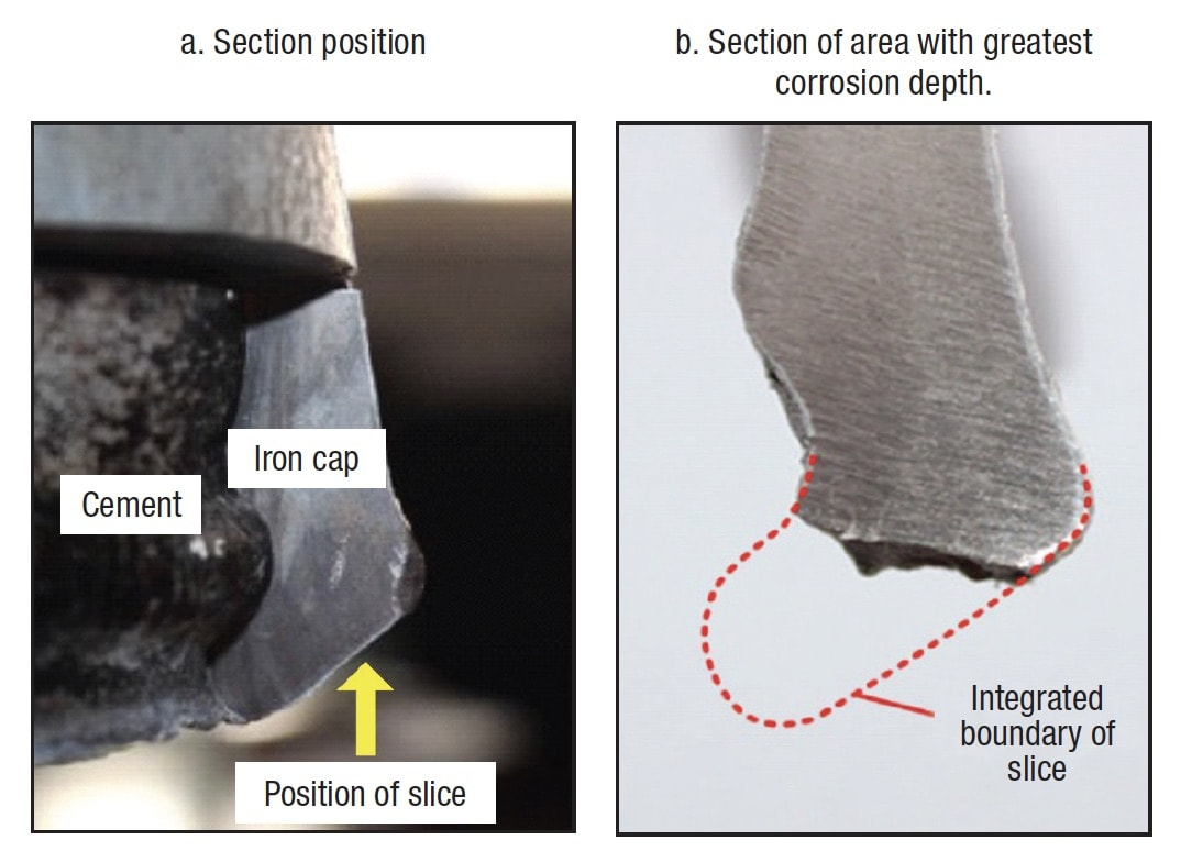 Overcoming Corrosion of Hardware on Suspension Insulators for UHV DC Lines Sections of iron cap without zinc ring