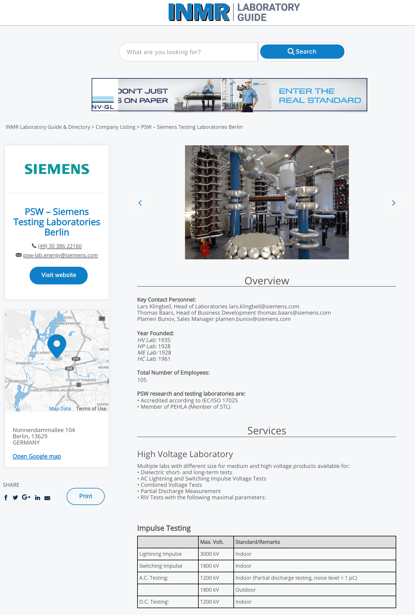 www.INMRLABORATORYGUIDE.com Helps Manufacturers & Users of Equipment Select Qualified HV & HP Test Laboratories INMR LABORATORY GUIDE 1