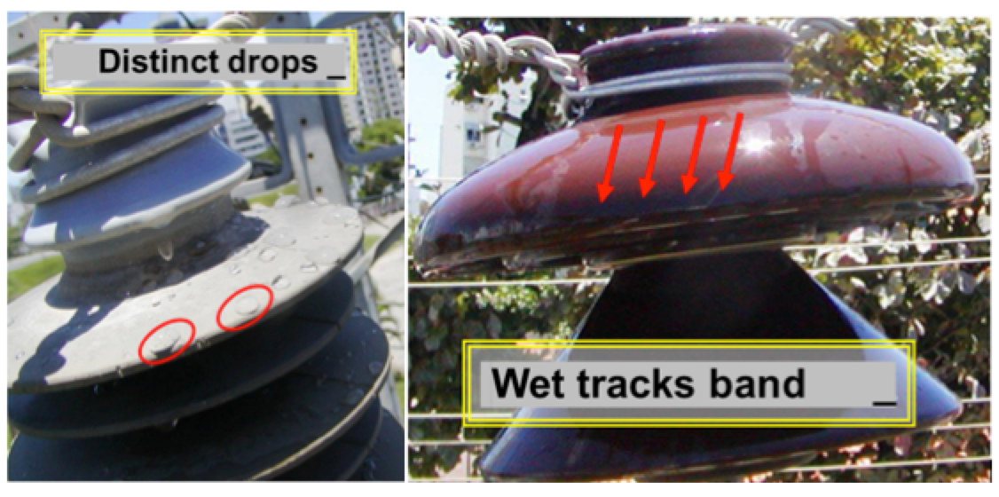 Examples of hydrophobicity and wet band area.
