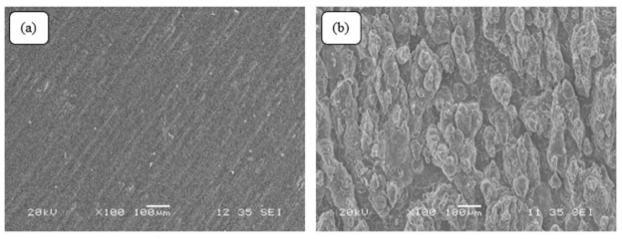 Self-Cleaning Properties of Super-Hydrophobic Silicone for High Voltage Insulators SEM images of smooth silicone rubber surface and b super hydrophobic silicone rubber surface