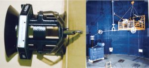 Fig. 11: E-field probe and example of on-line detection of internal defects at STRI's climate hall.