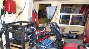 Helicopter outfitted with equipment for insulator diagnostics