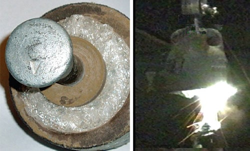 Another example of insulator failure. Stub with entire external glass shell missing (left). Flashover of stub at 10 to 15 kV demonstrates that current cannot flow inside stub (right). insulator failure Reviewing Modes of Insulator Failure Pic107