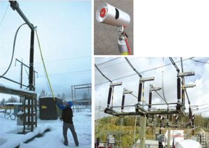 Installation of temperature sensor on disconnector using hot-stick and example of installation on 130 kV disconnector. Inset shows tool developed for live line installation. condition monitoring Asset Condition Monitoring & Diagnostics Pic79 300x213