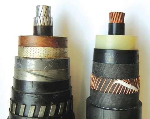 110 kV paper-insulated cables (left) compared to XLPE cable.