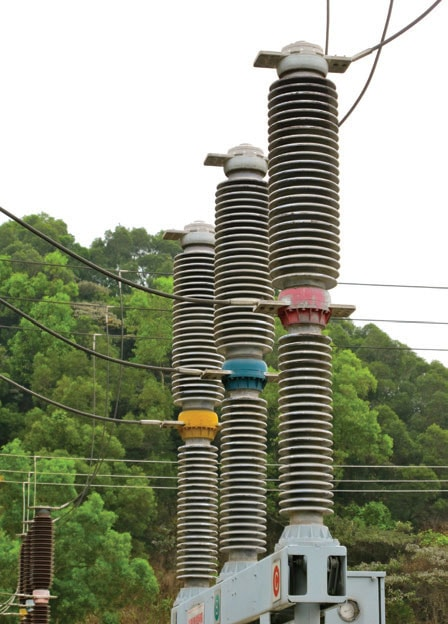 Newer breakers at same substation feature porcelain housings with alternating sheds and higher specific creepage and do not have coatings. pollution monitoring Pollution Monitoring for Better Selection of Insulators in Contaminated Service Conditions p2