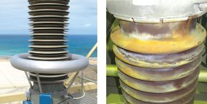 Silicone housing on bushing exposed to coastal pollution in New Zealand. Pollution accumulated on porcelain removed from same site (right). pollution monitoring Pollution Monitoring for Better Selection of Insulators in Contaminated Service Conditions p7 300x150