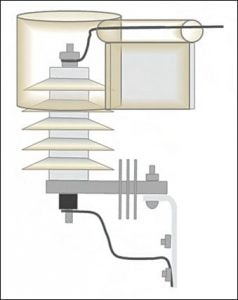 Figure 6: Preferred cover design that accommodates side leads and retrofitting. arrester Wildlife Protective Devices for Arresters Fig63 237x300