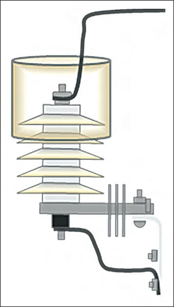 Figure 1: Cover type wildlife protective device on arrester. arrester Wildlife Protective Devices for Arresters Pic232