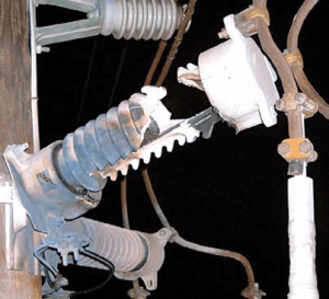 Overload on this failed arrester may have come from temporary overvoltage or from a lightning surge but could also have been that moisture ingress was underlying cause. Once shorted internally, fault current built the internal pressure to a level that fractured porcelain housing. Fracture could also have resulted from fault current above the unit's rating.